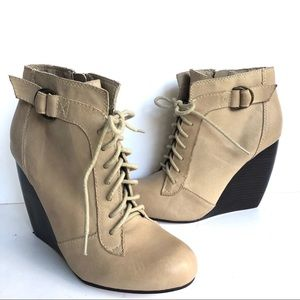 SEYCHELLES TAN LACE UP LEATHER WEDGE BOOTIES
